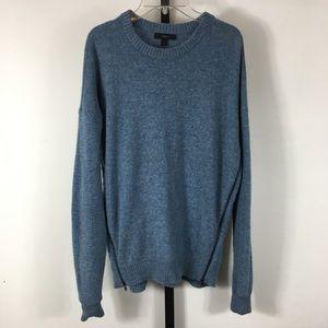 J. Crew Lambswool Heather Blue Side Zip Sweater